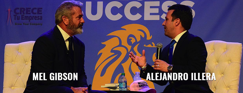 Alejandro Illera conversando con Mel Gibson